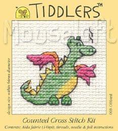 Mouseloft Green Dragon Tiddlers cross stitch kit